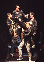 (From top center, clockwise) Brandon Albright, Keven Quillon, Michael D. Jablonski, Joe Abraham and John Pinto Jr. as the Burger Palace Boys in the Music Circus production of Grease June 26 through July 1, 2012. Photo by Charr Crail.