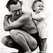 Portinari com seu filho Joao Candido, na praia do Leme. Rio de Janeiro, 1941.