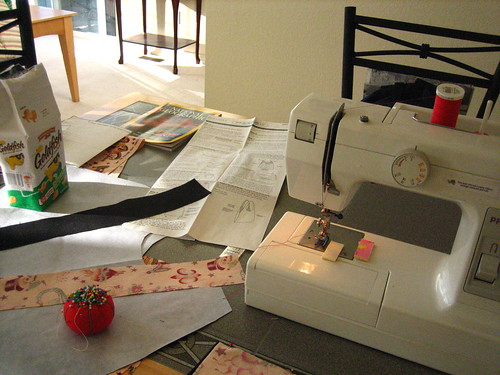 sewing at the dining room table
