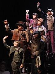 Christopher Bones, Matthew Gumley and the Music Circus Junior Company in Oliver! at Music Circus July 19-24. Photo by Charr Crail.