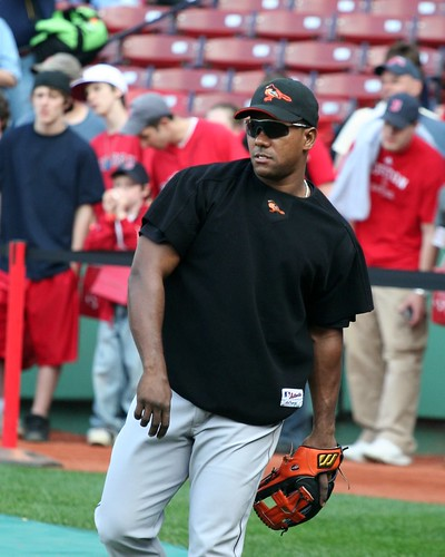 Miguel Tejada warming up by Phil Romans.