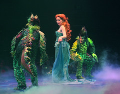 "Jessica Grové as Ariel and Scott Leiendecker and Ben Roseberry as Flotsam and Jetsam in the Music Circus production of ""The Little Mermaid"" at the Wells Fargo Pavilion July 10-22. Photo by Charr Crail."