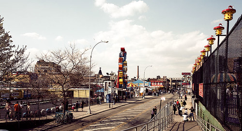 Before Thor: View of W 12th Street with Go Karts and Zipper. April 15, 2006. Photo © frankko via flickr