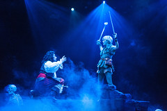Paul Schoeffler as Captain Hook and Jenn Colella as Peter Pan in Peter Pan, produced by Music Circus at the Wells Fargo Pavilion July 21-26, 2015. Photo by Kevin Graft.