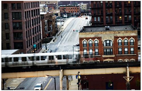 Chicago Hochbahn im Regen