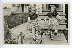 Twin Girls on Tricycles 1940