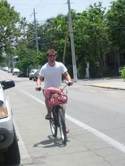 Bobby rides a bike