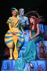 "Henry Hodges as Flounder and Jessica Grové as Ariel in the Music Circus production of ""The Little Mermaid"" at the Wells Fargo Pavilion July 10-22. Photo by Charr Crail."