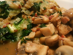 Bubble and squeak with sauteed chestnut mushrooms