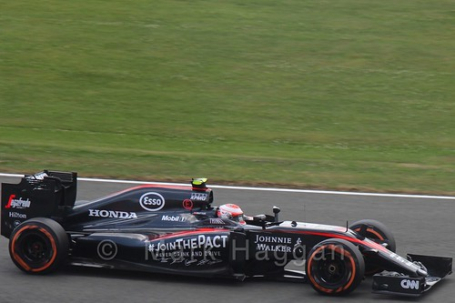 Jenson Button in qualifying for the 2015 British Grand Prix at Silverstone