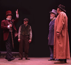 (L to R) William Parry as King, Michael McGurk (Ensemble), Doug Carfrae (Harvey Wilkes) and Rich Hebert (Sheriff Bell) in Big River, produced by Music Circus at the Wells Fargo Pavilion June 23-28, 2015. Photos by Charr Crail.