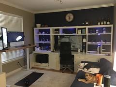 Sitting/standing, dual-desk, triple-monitor office.