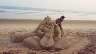 Sand Art Goddess Saraswati by Manas Kumar Sahoo