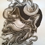 Calling this done. Ink and charcoal on paper. A2 size. Thanks for looking #japanese#hanya#mask#snake