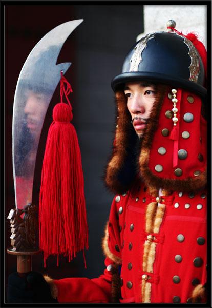 Korean guard reflected Seoul Kyeongbokgung South Korea