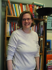 Rachel in the library