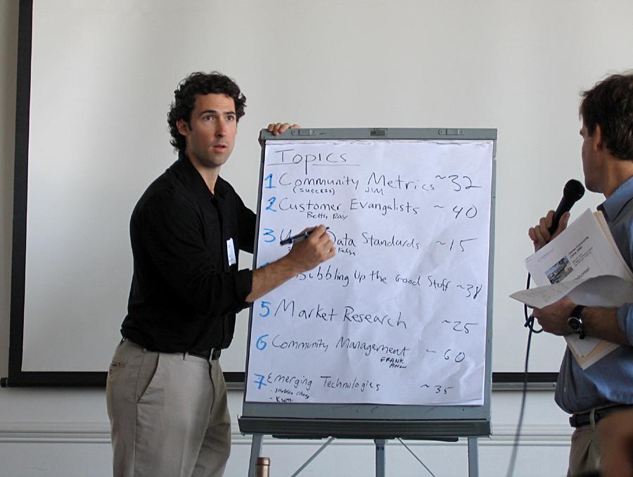 thursday agenda-building at Online Community Camp