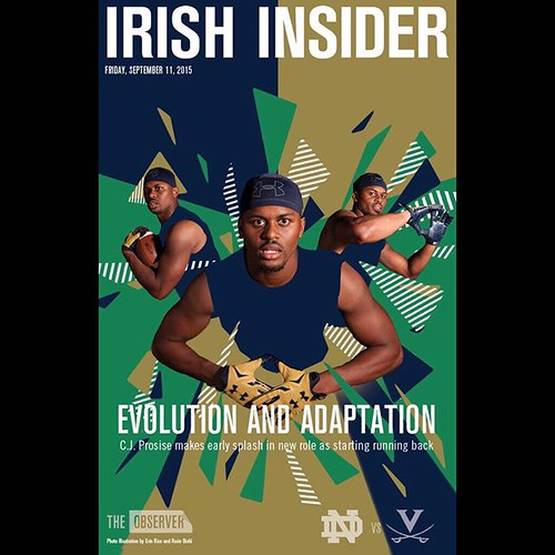 C.J. Prosise left Virginia a safety and returns this weekend as Notre Dame's starting running back—and is on this week's Irish Insider cover | http://ift.tt/1KHR0tA