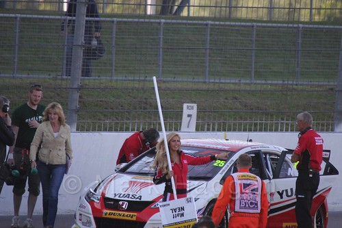 Matt Neal on the BTCC grid at Rockingham 2015
