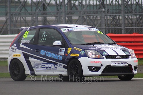 Aaron Thompson in the BRSCC Fiesta Junior Championship at Silverstone, August 2015