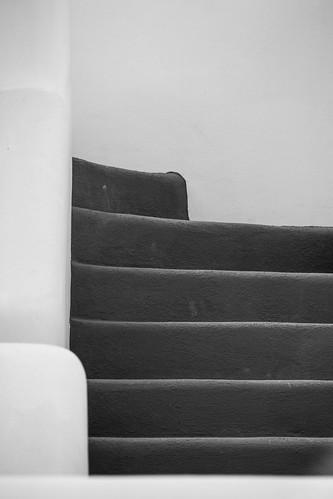 Oia stairs b/w