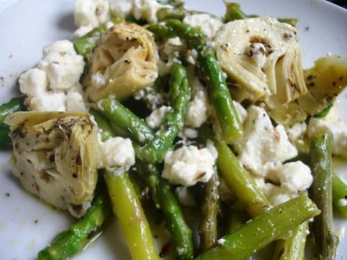 Artichoke , Asparagus and Feta Salad