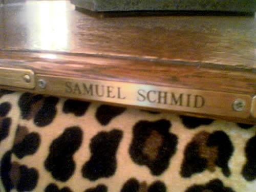 Namensschild von Samuel Schmid (Flickr / piecoplastic)