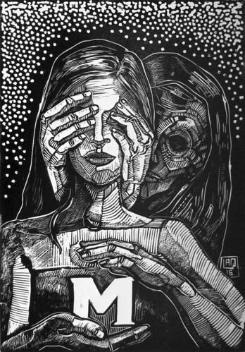 Illustre sconosciuta, linoleumgrafia, 2016
