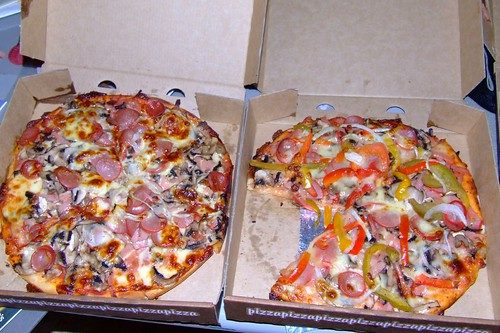 Supreme Pizzas - one  loaded with capsicum (bell peppers) by you.