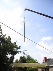 Crane, Pole, Man