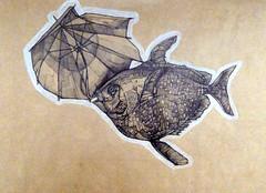 Levar di luna, penna e, pastello su carta, 2013
