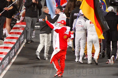 Sebastian Vettel waves to the crowd at The Race of Champions, Olympic Stadium, London, November 2015
