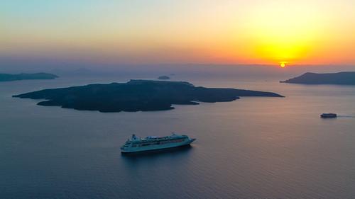 Sonnenuntergang in Fira, Santorini