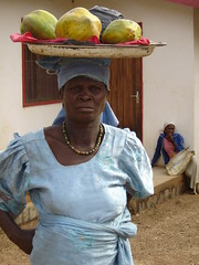 Lady selling -papayas, N'Gaoundere