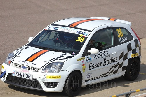 Lewis Kent pits in Race 1, Fiesta Junior Championship, Rockingham, Sept 2015