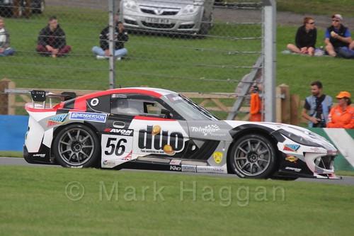 The Tolman Motorsport Ginetta G55 GT4 of David Pattison and Luke Davenport in British GT Racing at Donington, September 2015
