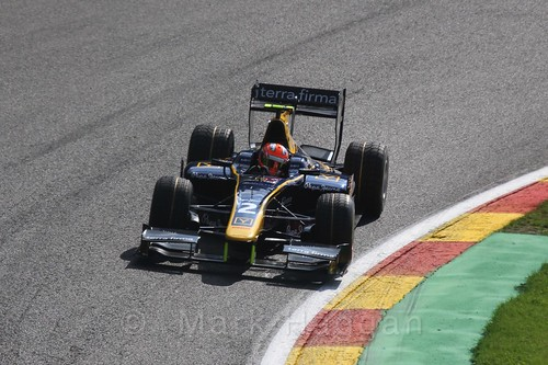 Alex Lynn in the GP2 Qualifying session at the 2015 Belgium Grand Prix