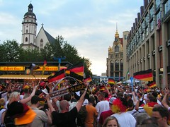 German Soccer Fans Celebrating in Leipzig after GER:ARG Match