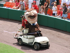 Teddy is disqualified after passing the other presidents in a golf cart, July 23, 2006. Photo by flickr user alykat