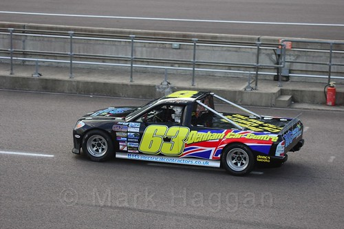 Phil White in the pits in Pick Up Truck Racing, Rockingham, Sept 2015