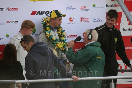 Race winner Michael Higgs interviewed after the Fiesta Junior Championship, Brands Hatch, 2015
