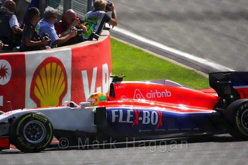 Roberto Merhi during the Green Flag lap before the 2015 Belgium Grand Prix