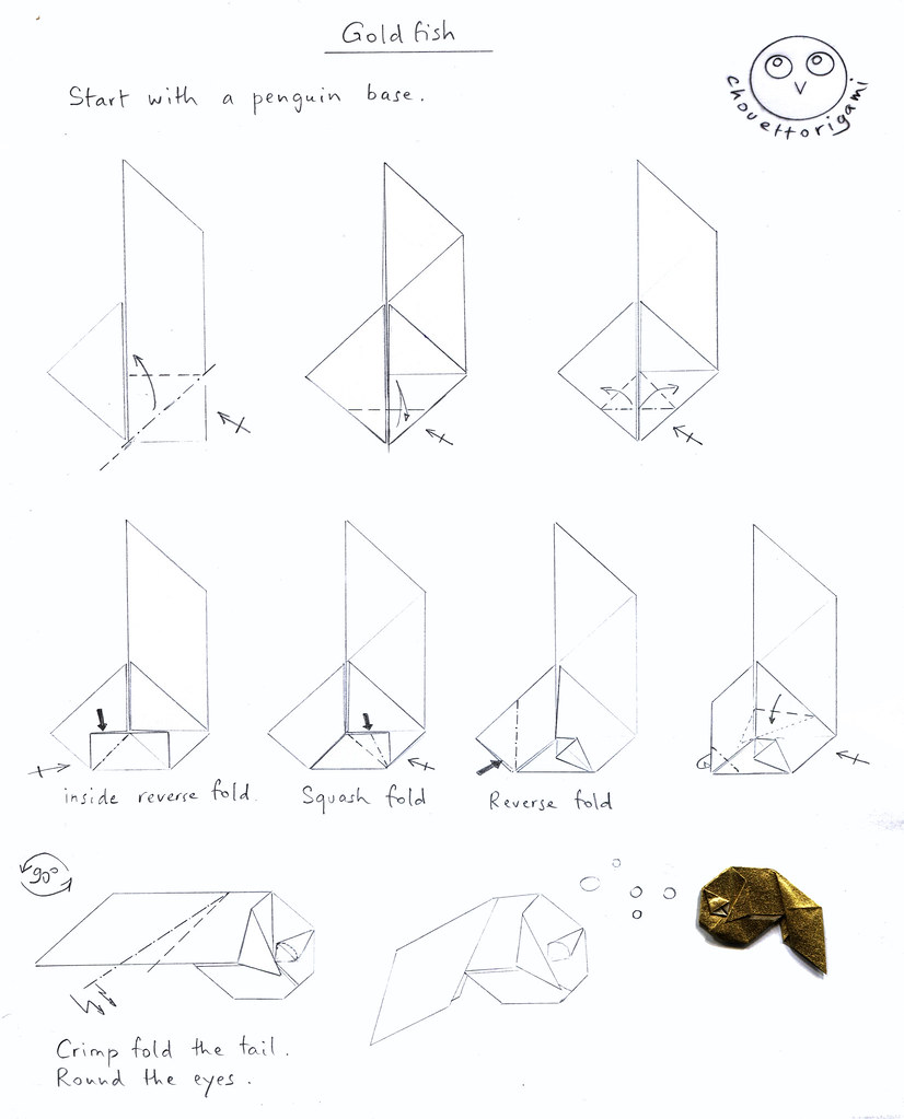 hight resolution of  chouett origami tags fish origami goldfish diagram poisson