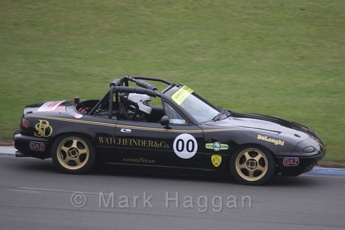 Mazda MX5s racing at Donington, October 2015