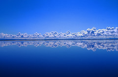 Only clouds, lake, sky