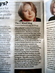 The Guardian shout out to The F Word blog