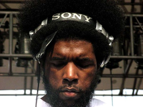 ?uestlove of The Roots, his eyes turned downward.  Photo by Rafe Baron.