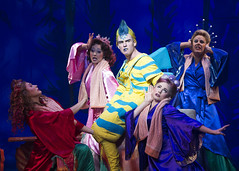 Adam Garst as Flounder and the cast of Disney's The Little Mermaid presented by Broadway Sacramento at the Community Center Theater Feb. 2-7, 2016. Photo by Bruce Bennett, courtesy of Theatre Under The Stars.