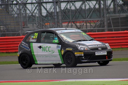 Nathan Edwards in the BRSCC Fiesta Junior Championship at Silverstone, August 2015
