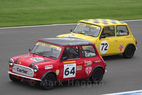 Simon Carter and Morgan Harris in Mighty Minis at Donington Park, October 2015
